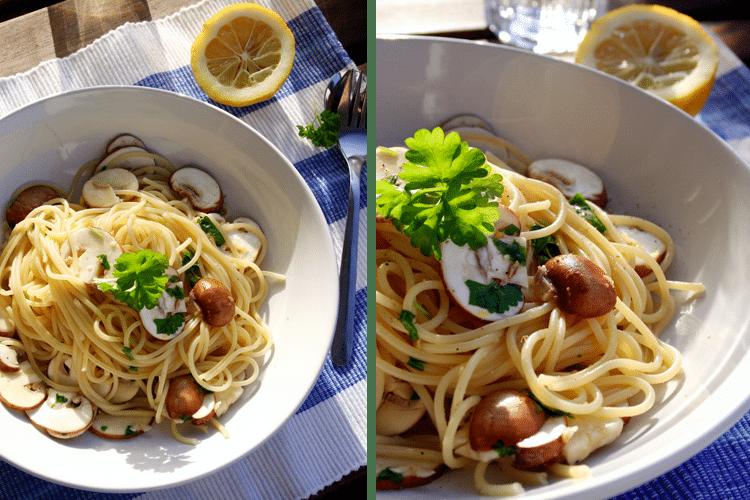 Spaghetti mit Zitronen und Champignons - Kochkarussell.com