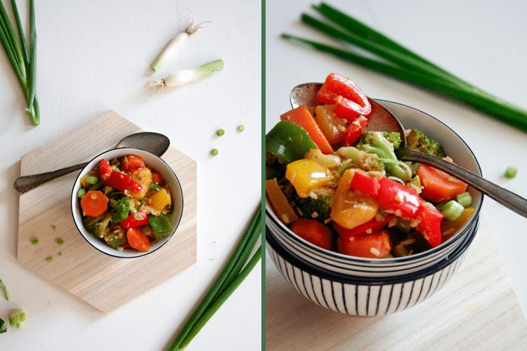 Asiatische Gemüsepfanne mit Kokosmilch, Paprika, Karotten, Brokkoli und Kokosflocken