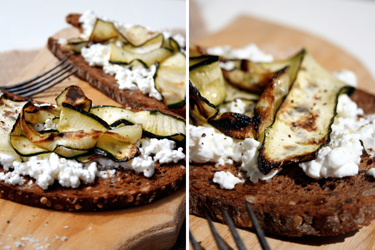 Kochkarussell: Zucchini-Crostini mit Hüttenkäse, Olivenöl, Salz und Pfeffer