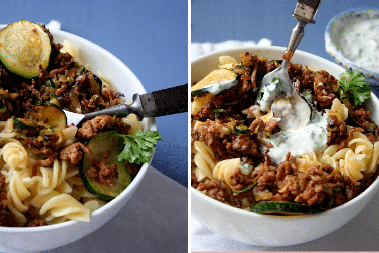 Türkische Pasta mit Hackfleisch und Joghurt-Sauce - Kochkarussell.com