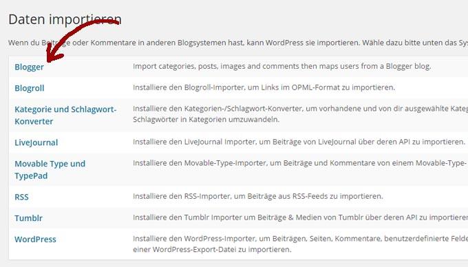 Anleitung Umzug von Blogger zu WordPress in 6 einfachen Schritten Daten importieren - Kochkarussell.com
