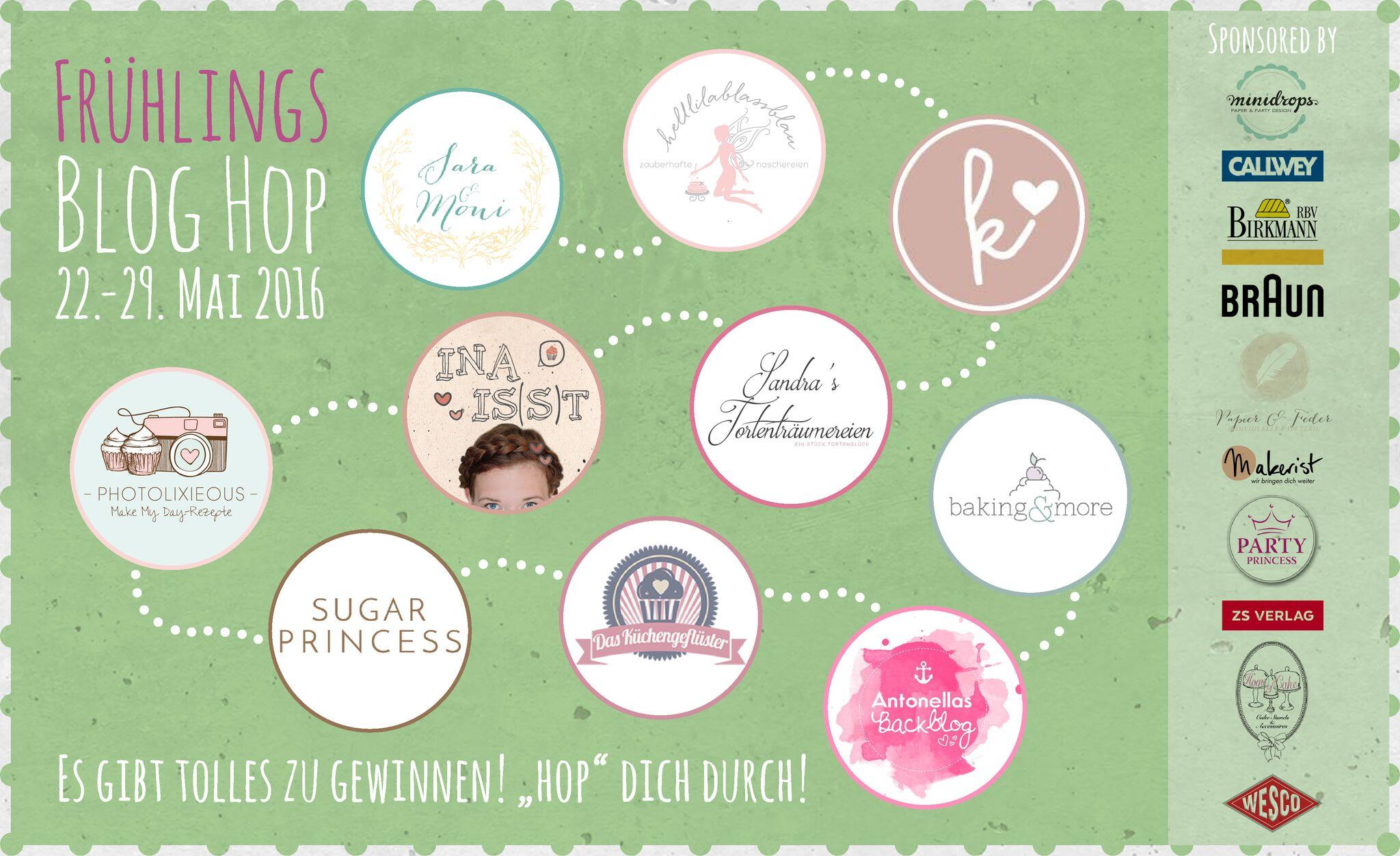 Banner Frühlings Blog Hop mit den Teilnehmerlogos