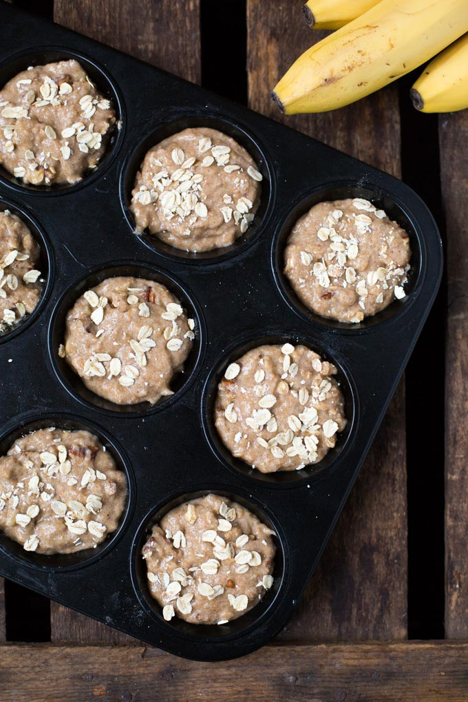 Dieses Rezept für einfache Bananenbrot Muffins ohne Zucker ist einfach der Hammer! Schnell, deutlich gesünder und sooo lecker - Kochkarussell.com #werbung #Diamant #MarkenmehlistdasAahundOoh #backmomente