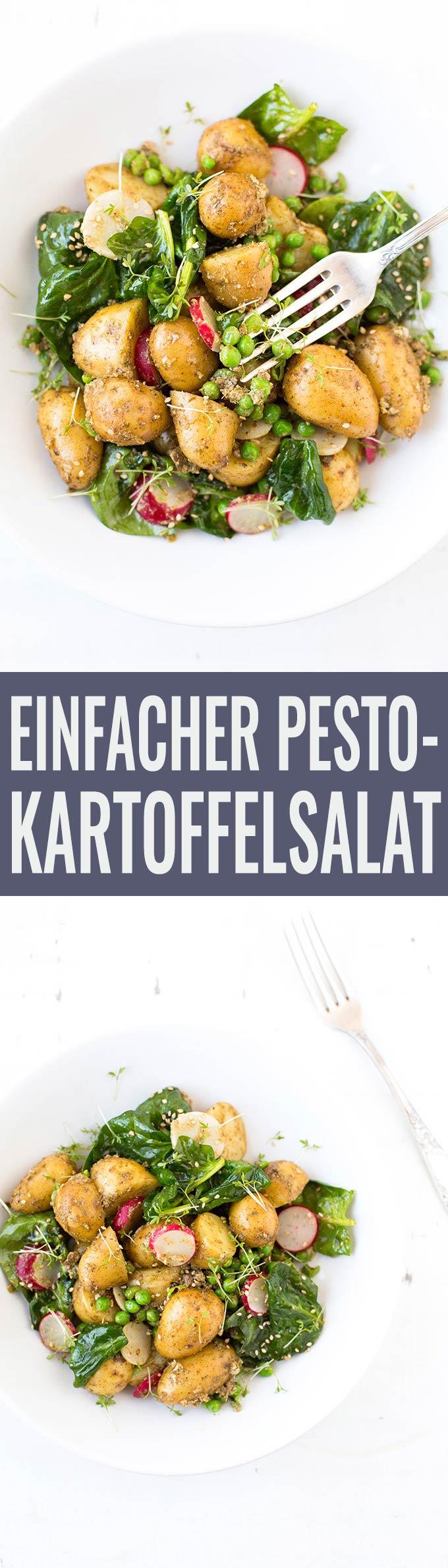 Einfacher Kartoffelsalat mit Pesto. Dieses Rezept ist schnell und SO gut - Kochkarussell.com