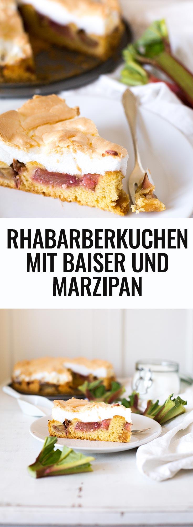 Einfacher Rhabarberkuchen mit Baiser und Marzipan. Dieses schnelle Rezept begeistert garantiert ALLE - Kochkarussell.com
