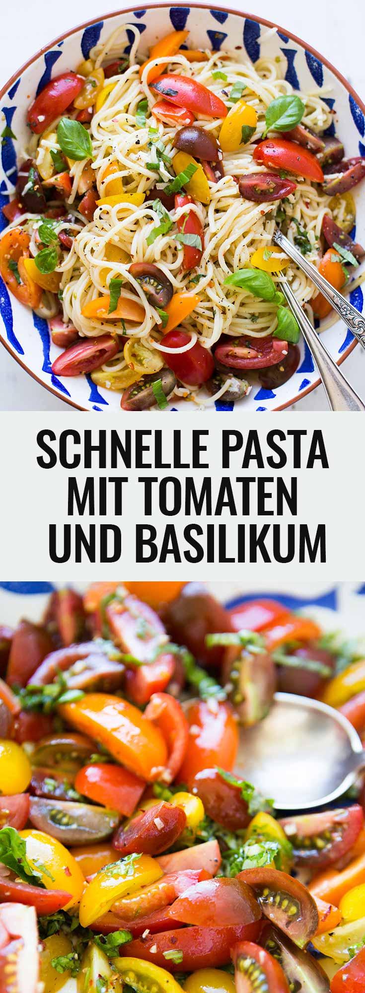 Schnelle Pasta mit Tomaten und Basilikum. Dieses 9-Zutaten Rezept ist schnell, einfach und herrlich sommerlich - Kochkarussell.com