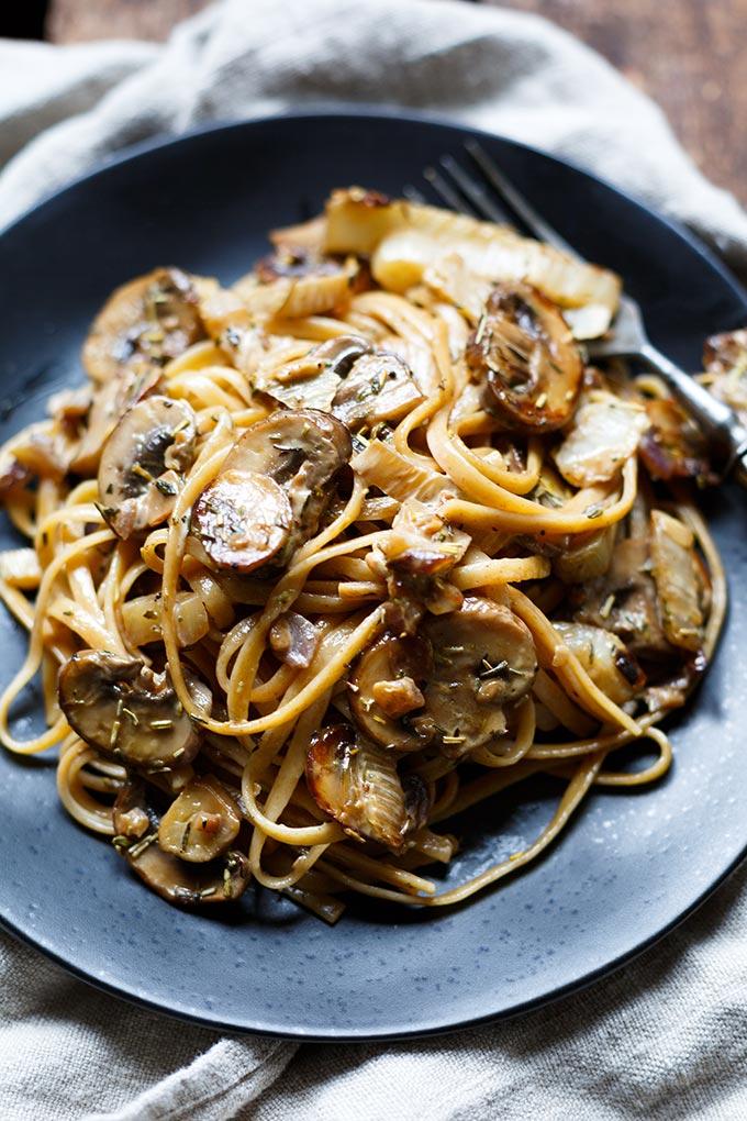 Pasta mit Pilzen und Fenchel in Sahne Sauce - Kochkarussell Foodblog