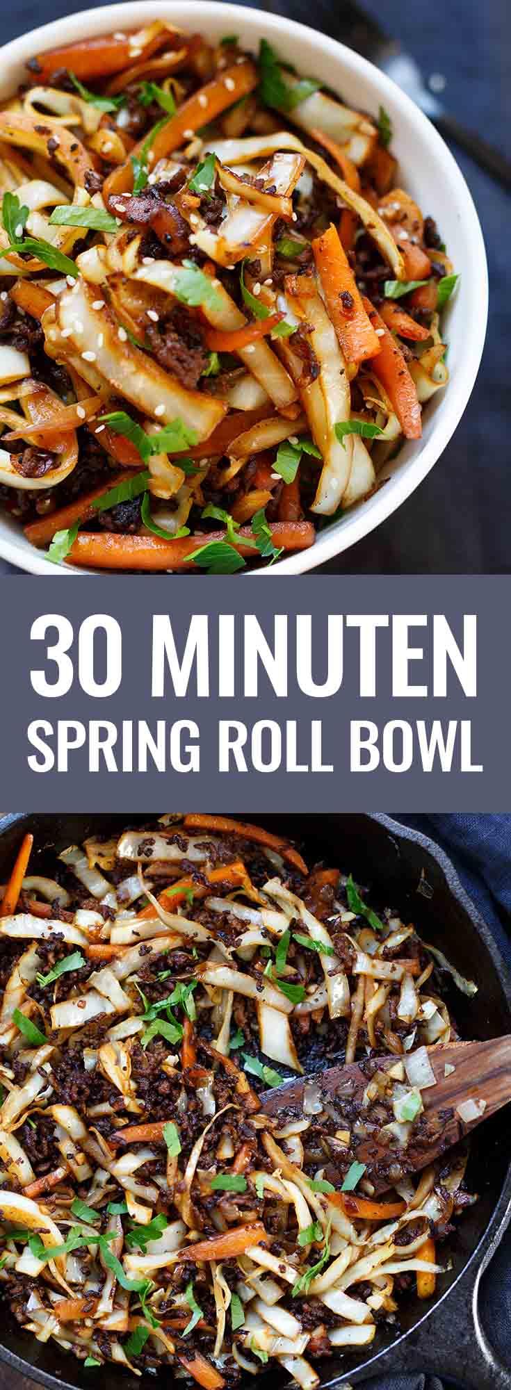 OMG Spring Roll Bowl! Dieses Low Carb-Rezept ist einfach, vollgepackt mit asiatischen Aromen und SO gut. - Kochkarussell.com #springrolls #bowl #buddhabowl #frühlingsrolle