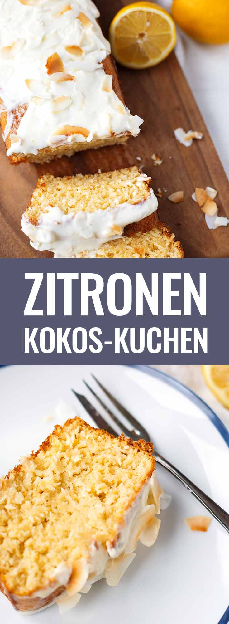 Zitronen-Kokos-Kuchen mit zitronigem Creme Fraiche-Topping. Dieses einfache Rezept ist herrlich saftig, zitronig und kokosnussig. SO lecker! - Kochkarussell.com #kuchen #zitronenkuchen #kokos #backen