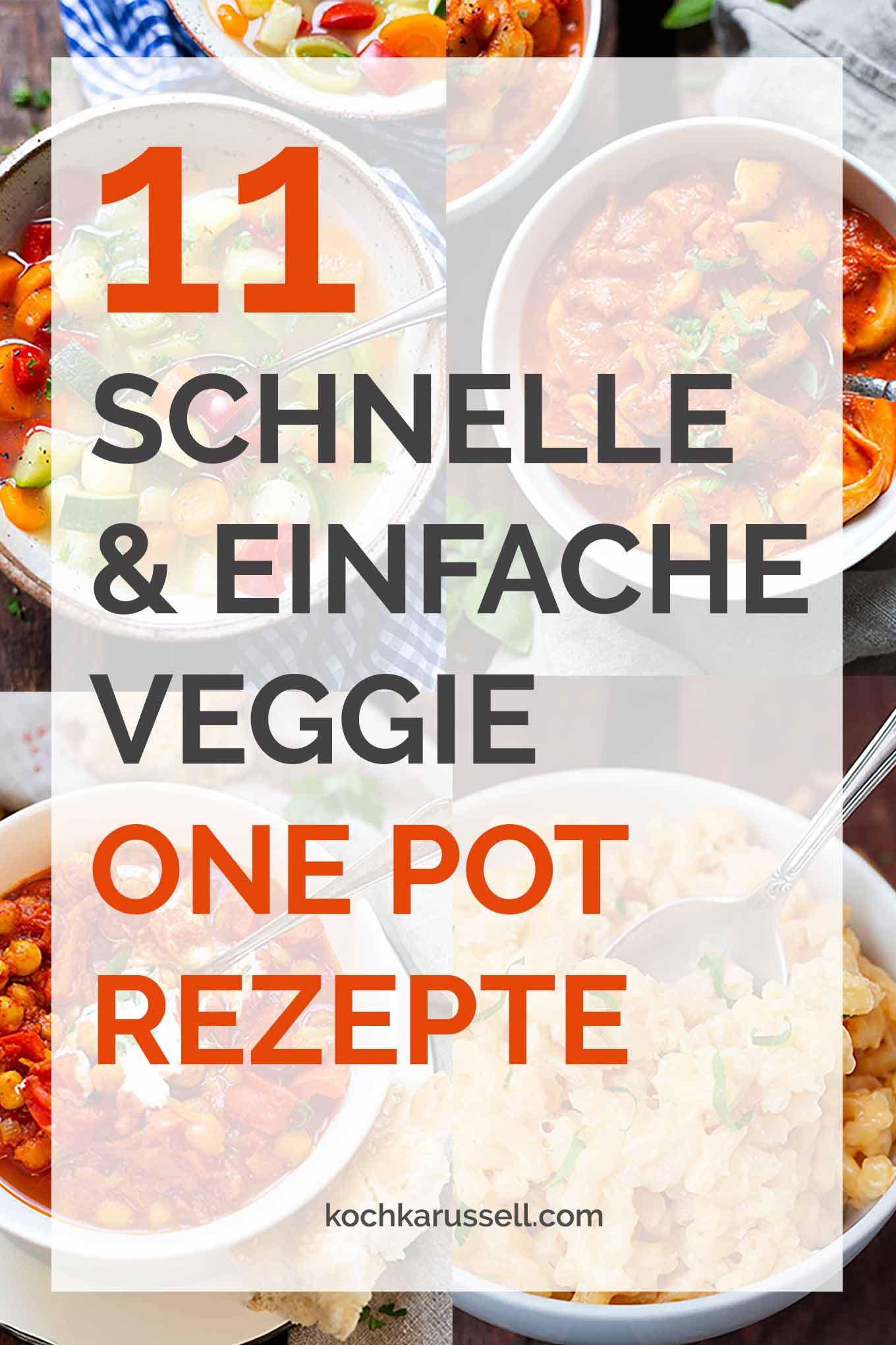 11 schnelle und einfache Veggie One Pot Rezepte. Diese praktischen, vegetarischen Rezepte aus einem Topf mit viel Gemüse wirst du lieben! - Kochkarussell.com #onepot #veggie #vegetarisch #rezept