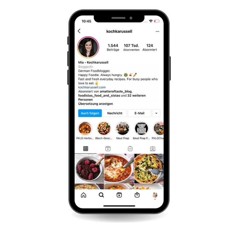 Reichweite vom Kochkarussell bei Instagram